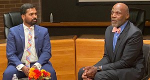 Retired Supreme Court Justice Alan Page, right, joins Navin Ramalingam on Tuesday at the Fifth Annual MLK Convocation at the University of Minnesota Law School. (Submitted photo)