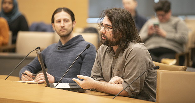 Cass Weiland of the group Restore the 4th Minnesota testifies before the Subcommittee on Data Practices on Jan. 30. Kurtis Hannah, left, is another member of the pro-Fourth Amendment advocacy group. (Staff photo: Kevin Featherly)