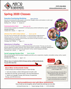 Information about the spring 2020 classes at Minor Achievements