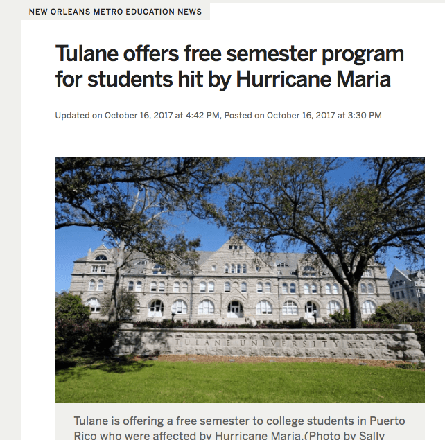 Tulane University to Offer Free Semester Program to Students Hit by Hurricane Maria