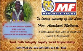 In memory of the Late Hon. Amichand Rajbansi