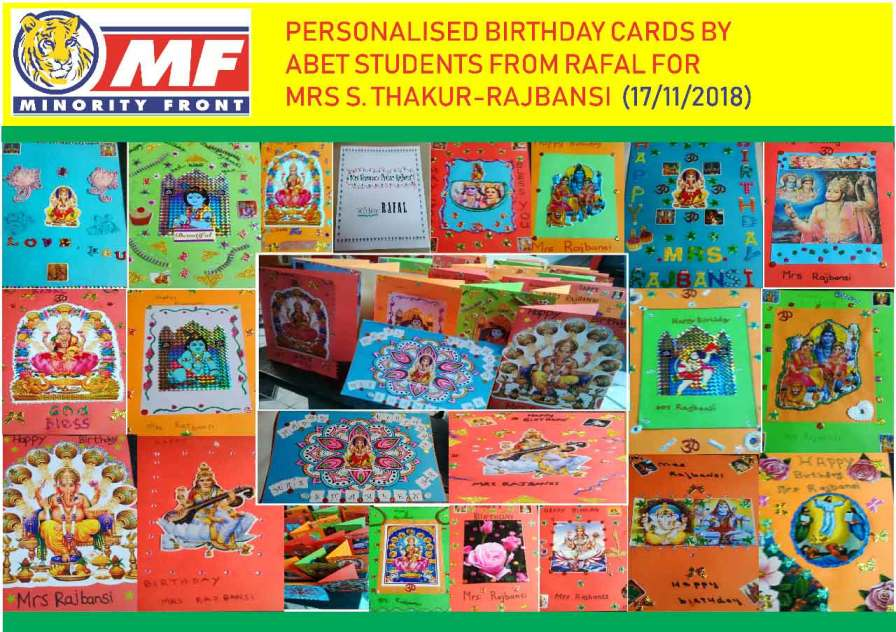 Personalised Birthday Cards by ABET Students From RAFAL for Mrs S Thakur-Rajbansi