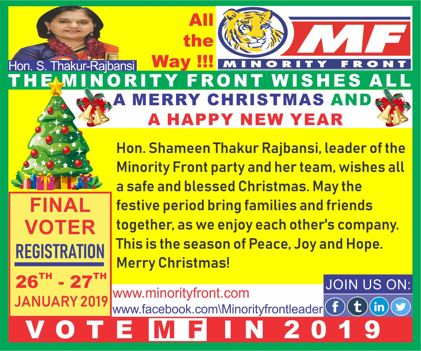 The Minority Front Wishes All a Merry Christmas and a Happy New Year