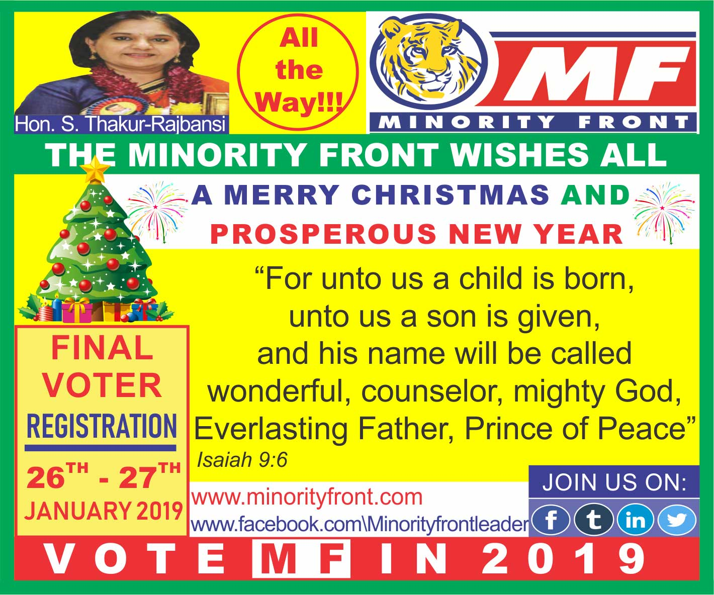 The Minority Front Wishes All a Merry Christmas and a Prosperous New Year
