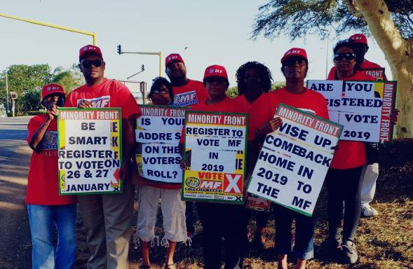 Minority Front team all powered up for the 2019 Voter Registration Weekend that will take place on the 26th - 27th January 2019 at IEC offices and all voting stations in your area. Contact our MF Constituency Offices (PMB, Phoenix & Chatsworth) for further information. See you there