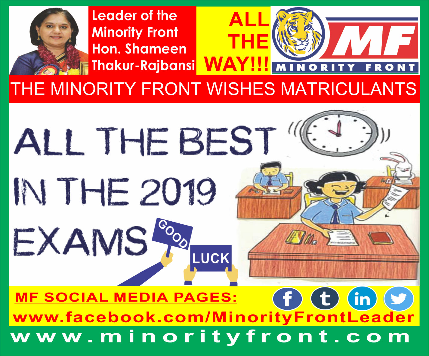 The Minority Front Wishes All 2019 Matriculants
