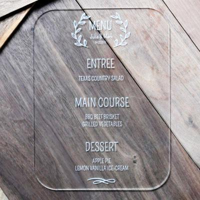 wediing-menu-clear-acrylic