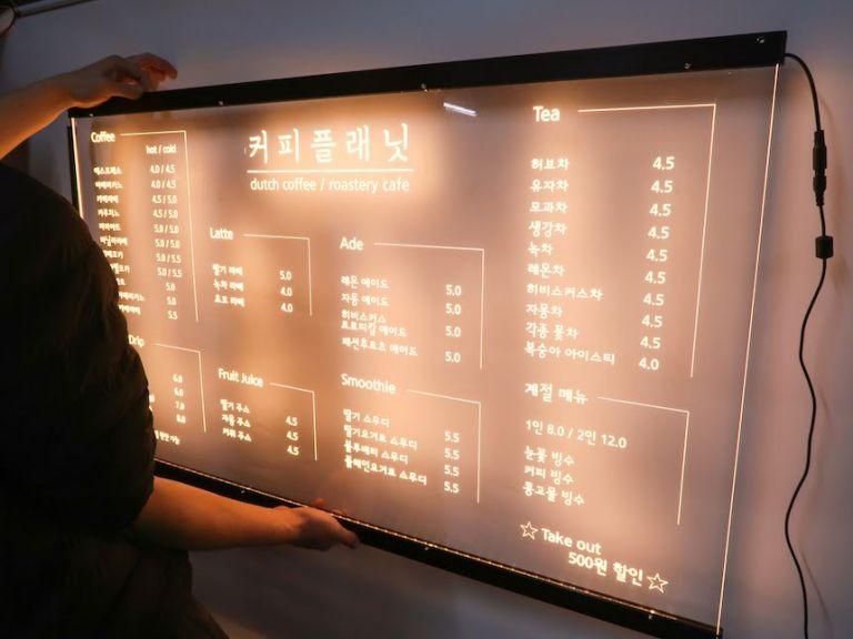 카페 메뉴판 셀프간판 LED간판가격 아크릴LED사인 아크릴 네온 벽간판 미니간판 커피플래닛 네온13
