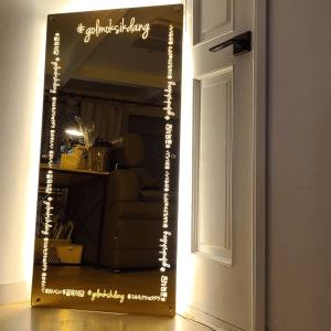 후광간판 LED거울 거울간판 LED조명거울 001 셀카존 포토존 미러사인 거울후광 후광사인 거울디자인