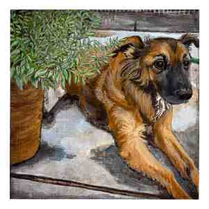 painting of a brown mixed breed dog sitting next to a potted plant