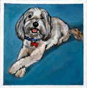 painting of a white dog with a blue background