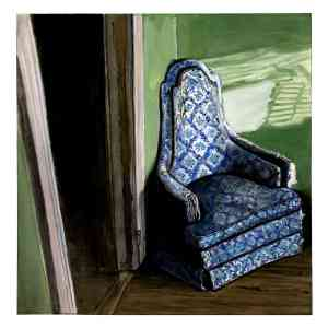 painting of an old blue chair in the sunlight