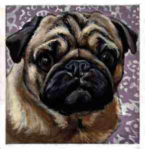 painting of a pug dog with a lavender and white patterned background