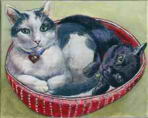 painting of a white and gray cat and a black cat snuggling in a red cat bed
