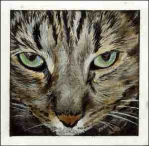 painting of the face of a brown tabby cat