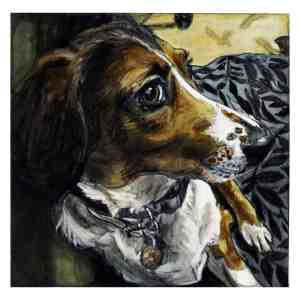 painting of a brown, black and white dog
