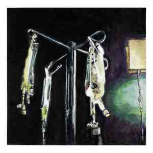 painting of IV bags in a hospital