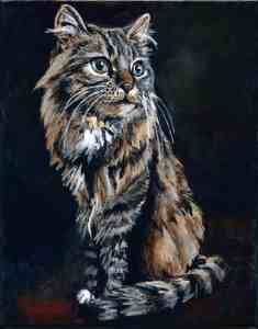 painting of a brown tabby siberian cat with a black background