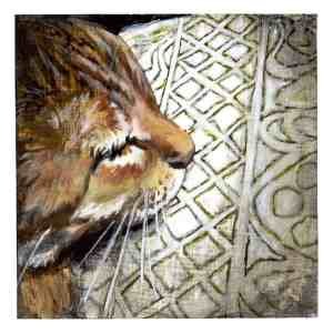 painting of an orange tabby cat sleeping on a white and green pattern blanket
