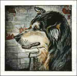 painting of an Australian Shepherd in front of a weathered painted brick wall