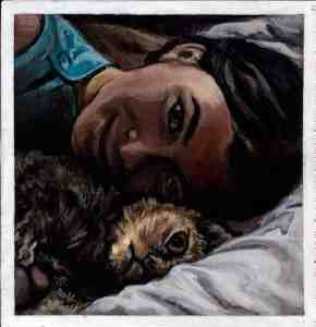 painting of a girl and her cat