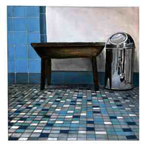 painting of a wooden bench and trash can in a blue tiled bathroom