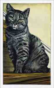 painting of a brown tiger stripe cat sitting in front of a pale yellow wall