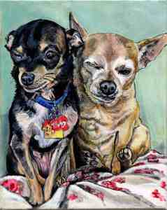 painting of two chihuahua dogs