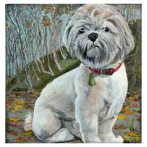 painting of a lhasa apso dog in the forest in autumn