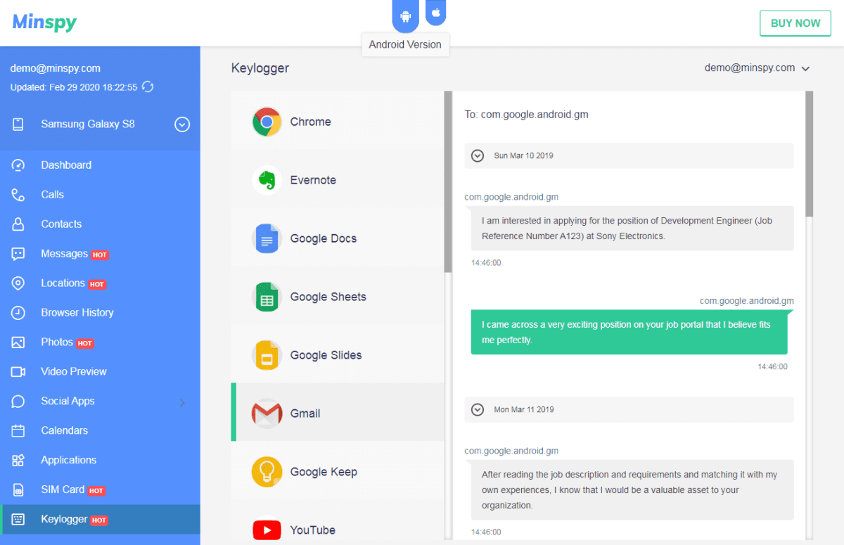 Minspy Android Keylogger