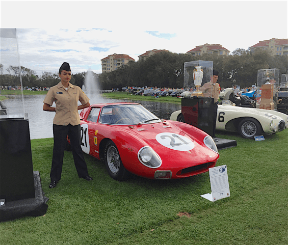 A Ferrari 250LM and an OSCA guarded...
