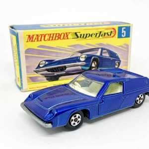 Matchbox Superfast No.5A Lotus Europa - dark metallic blue body with ivory interior, thin 5-spoke wheels - Mint including type G box.