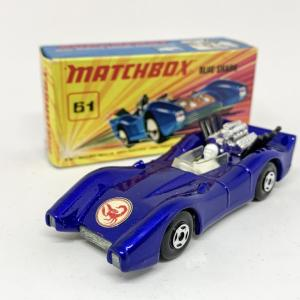 "Matchbox Superfast 61a Blue Shark - metallic dark blue body with Scorpion nose label, clear windscreen, bare metal base, 4-spoke wide wheels - Near Mint in Mint ""New"" type I box."