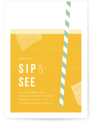 Summer Sip and See Baby Shower Invitation