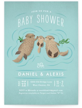 Otter Family Baby Shower Invitations