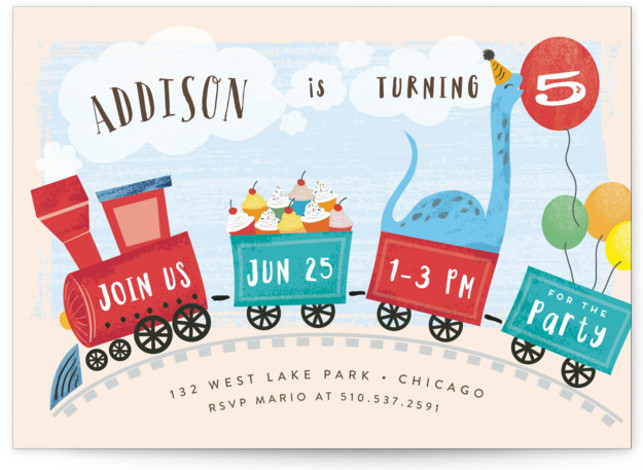 home garden train bunting children s birthday party invitations greeting cards invitations plumeriaevents com