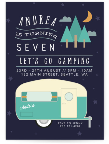 camping birthday party invitations and