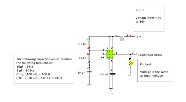 Square Wave Generator With Adjustable Frequency 1Hz To