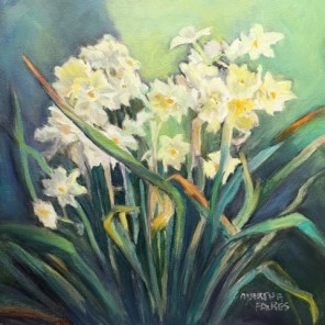 Daffodil Dance, still life, oil