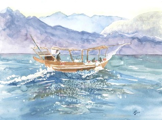 Boat and Mountains