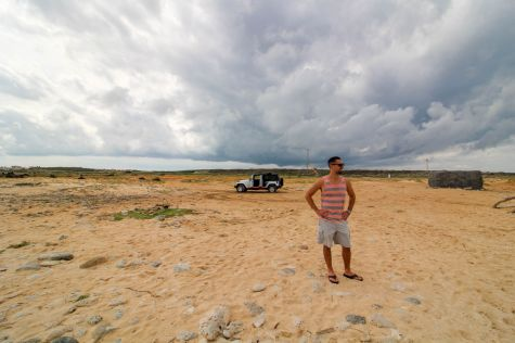 Guy on Beach in Aruba with Jeep