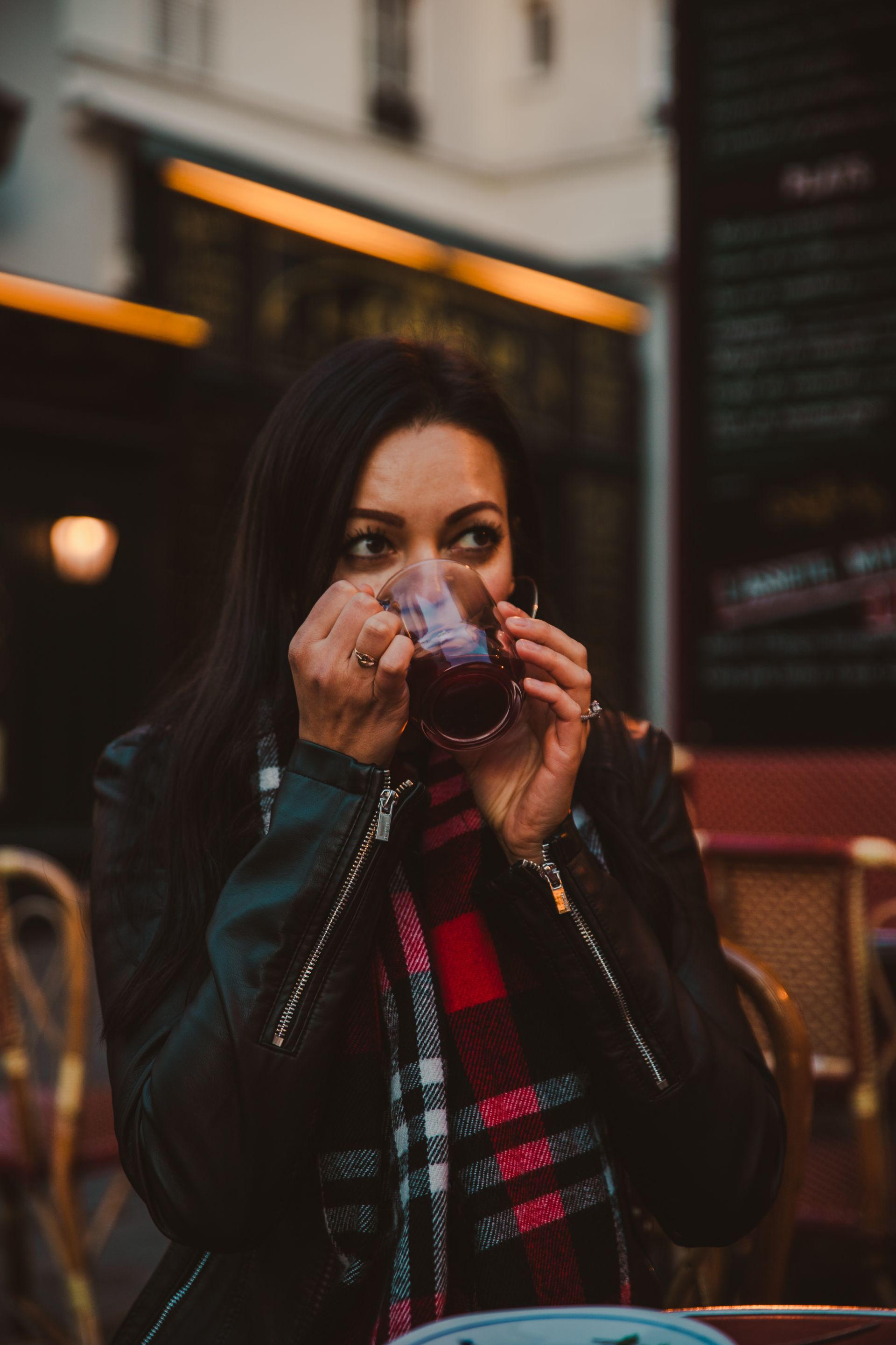 Natty Drinking Mulled Wine at Le Consulat in Paris France