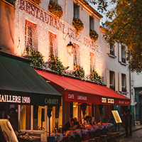 Streets of Montmartre in Paris France