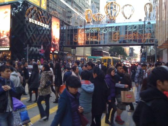 Christmas crowds in Hong Kong