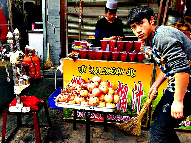 China: Xian - so proud of its pomegranates! This juice is the city's golden elixir! #oneverycorner