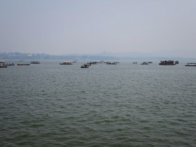 Boats on Hangzhou West Lake