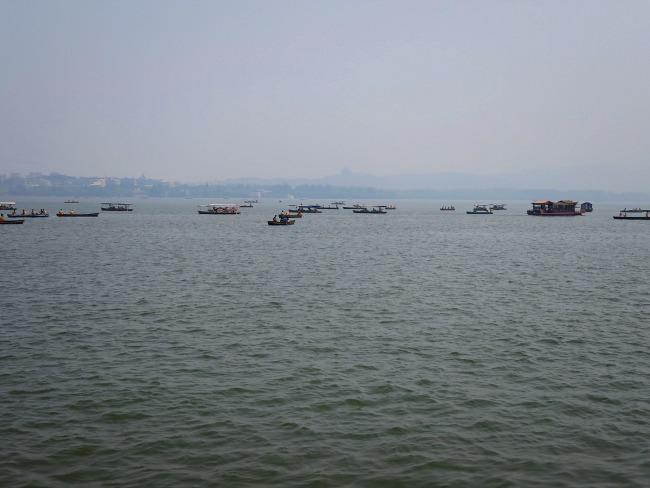 Boats on Hangzhou West Lake