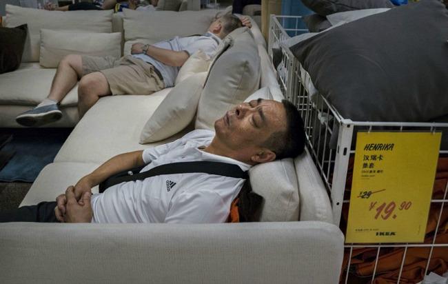 Falling asleep in Ikea