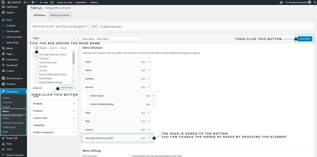 How to add page to menu in WordPress - MintSwift