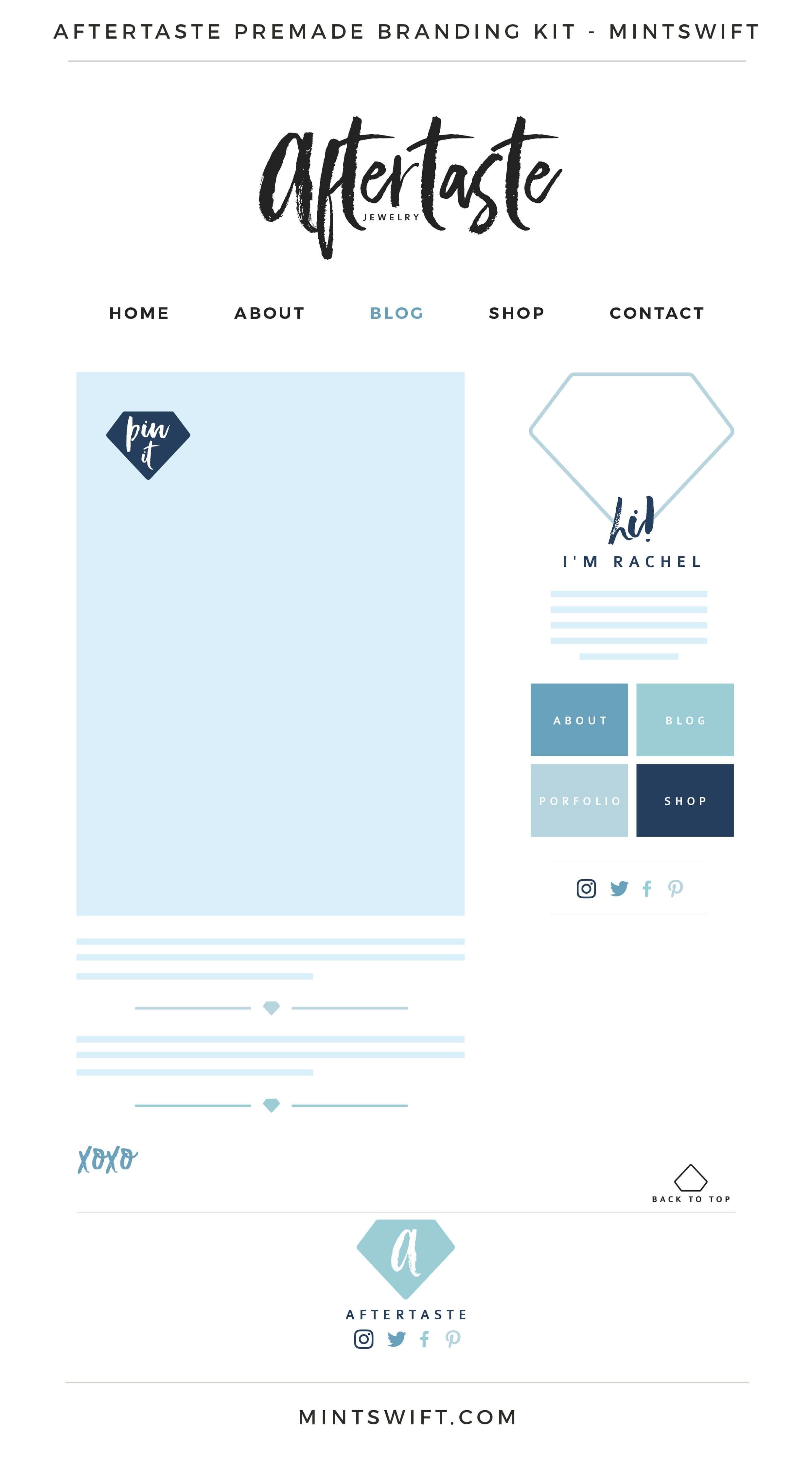 Aftertaste Premade Branding Kit | Branding Kit | Premade logo | Pre-made logo | Pre-made branding kit | Premade Brand Design| Branding | Brand Design | Website Design Kit | Blog Design Kit | Blog kit | Website kit | Website elements | Blog elements | Design elements | Branding kits shop | MintSwift Shop | Premade logo design | Add-On | Logo Design | MintSwift| Adrianna Glowacka | MintSwift Design